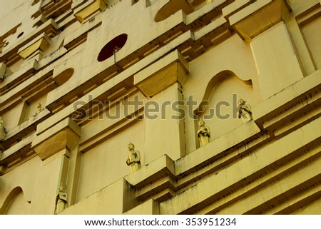 a part of thai pagoda In Thailand, any kinds of art decorated in Buddhist church created with money donated by people. They are public domain or treasure of Buddhism, no restrict in copy or use. - stock photo
