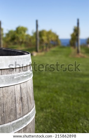 A partial capture of a wooden barrell with blurred background of rows of grapes at a vineyward. - stock photo
