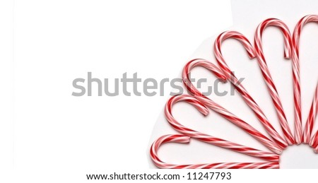 A partial circle of candy canes