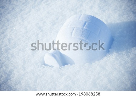 A partially built igloo surrounded by white snow.