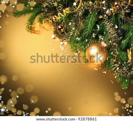 A particular of a Christmas tree with decorations - stock photo