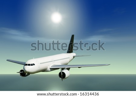A passenger jet flying over the ocean on a sunny day