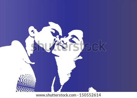 A Passionate Romantic Loving Kiss on the Cheeks by Boyfriend to Girlfriend (or Husband to Wife) in Love - stock photo