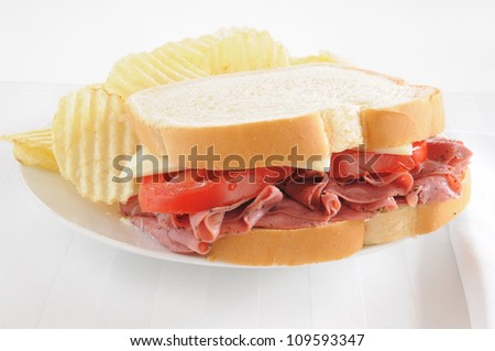 A pastrami sandwich with potato chips on a white background