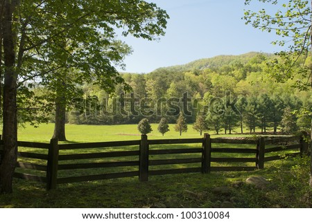 A pasture in the Blue Ridge Mountains of South Carolina. - stock photo
