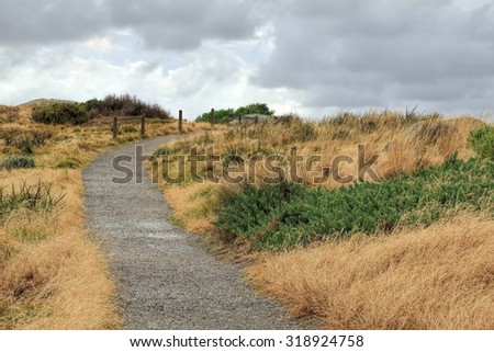 A path in  Granite Island off the coast of Victor Harbour South Australia - stock photo