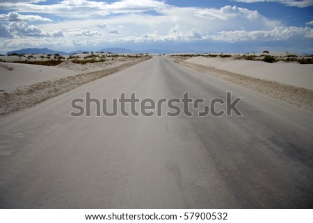 A path through the dunes, White Sands National Monument - stock photo