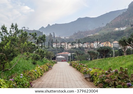 A path to the small village lined with hydrangea flowers, leading to small coffee stall, with houses on the hill and mountains on the background. Sao Vicente, north coast of Madeira island, Portugal. - stock photo