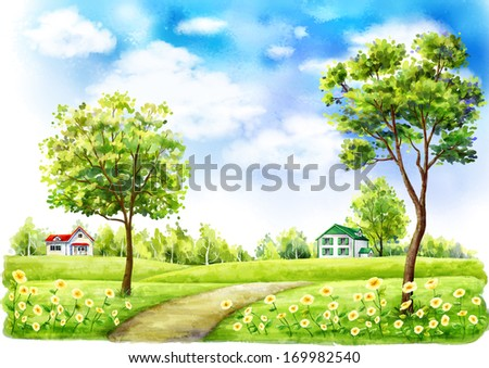 A pathway through trees to houses. - stock photo