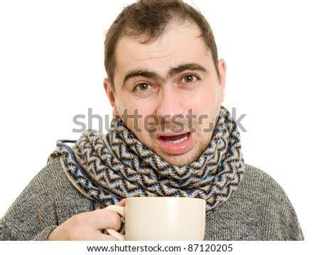 A patient man with a cup on a white background. - stock photo