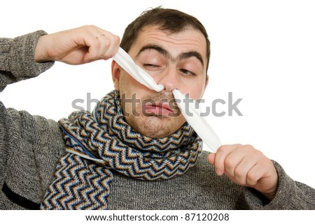 A patient man with a runny nose. - stock photo