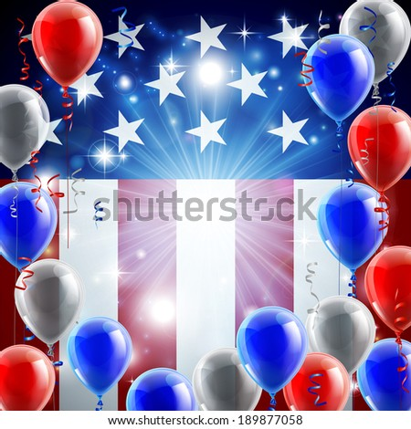 A patriotic American USA 4th July independence day or veterans day background with red white and blue party balloons - stock photo