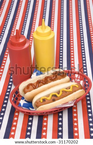 A patriotic fourth of July picnic table cloth hosts a basket of hotdogs with ketchup and mustard - stock photo