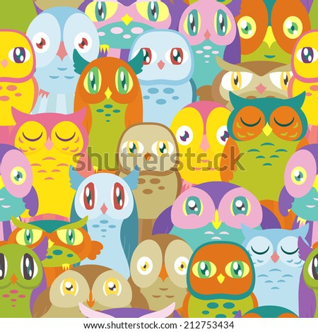A pattern depicting many colorful owls of different shapes and sizes. Seamlessly Repeatable. Raster. - stock photo