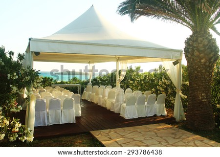a pavilion for wedding on the beach - stock photo