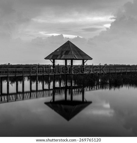 A pavillion overlooking a marsh in Sam Roi Yod National Park, Prachuap Khiri Khan, Thailand - stock photo