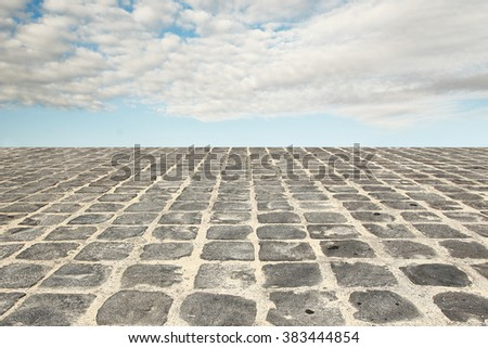 a paving on the road and sky - stock photo