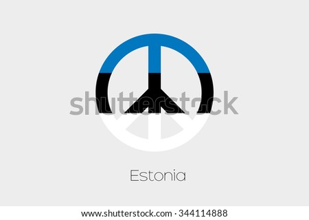 A Peace Symbol with the Flag of Estonia - stock photo