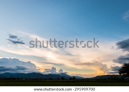 A peaceful rice field on sunset sky background