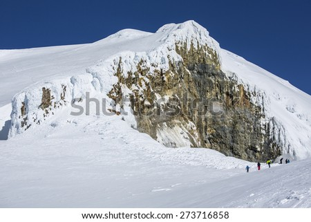 A peak at the top of Mount Baker - stock photo