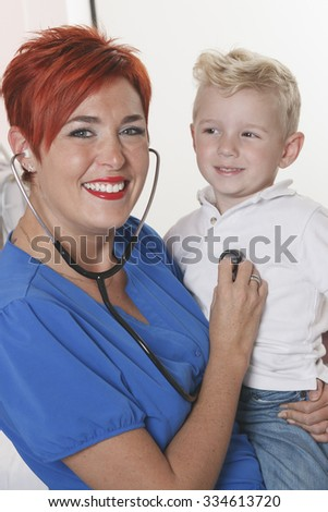 A pediatrician and doctor in the hospital - stock photo