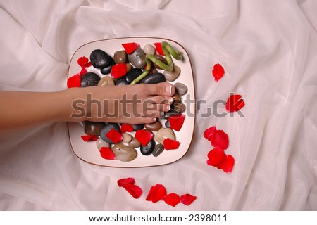 A pedicured foot and rose petals