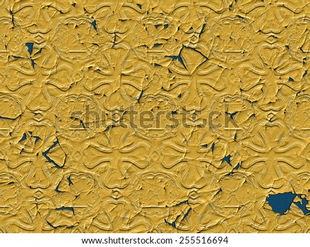 A peeling wallpaper with retro pattern in mustard color - stock photo