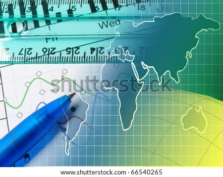 A pen against statistic chart. - stock photo
