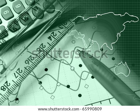 A pen against statistic chart and map. - stock photo