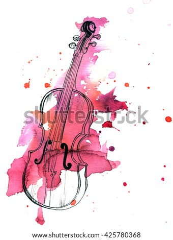 A pen and ink drawing of a vintage violin with a grunge watercolor stain - stock photo
