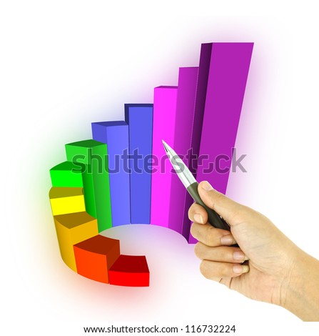 a pen pointing 3d growth bar graph