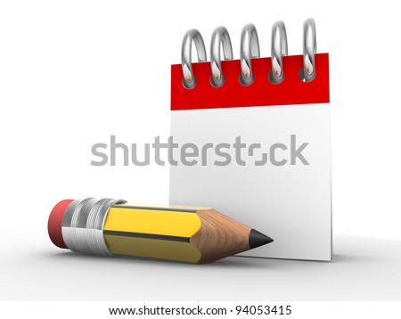 A pencil and a notebook. Calendar. 3d render illustration - stock photo