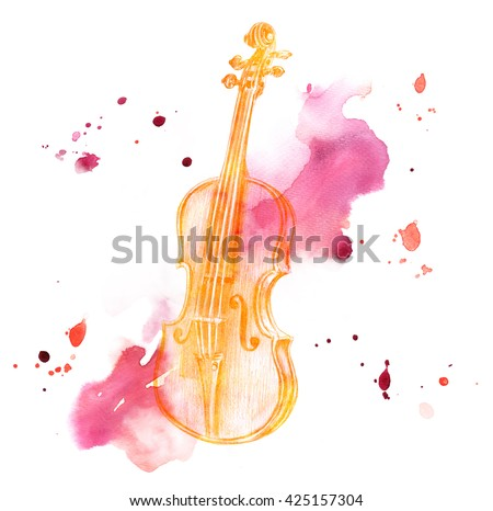 A pencil drawing of a golden colored vintage violin on a watercolor background - stock photo