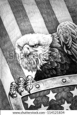 A pencil drawing of the American bald eagle with a shield on the flag of the United States of America in the background. - stock photo