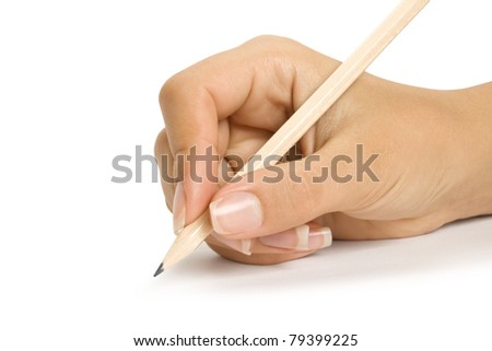 a pencil in a hand is isolated on a white background - stock photo