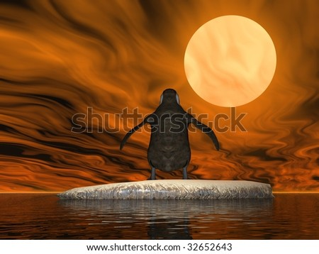 A penguin illustration concept of global warming on earth - stock photo