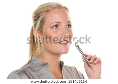 a pensive young woman with a pen. entrepreneurship and business idea