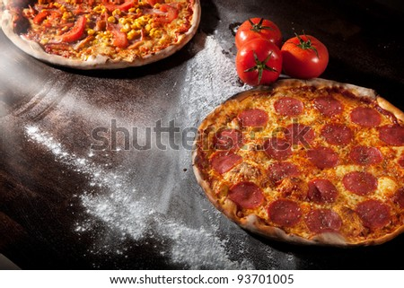 A pepperoni pizza - stock photo