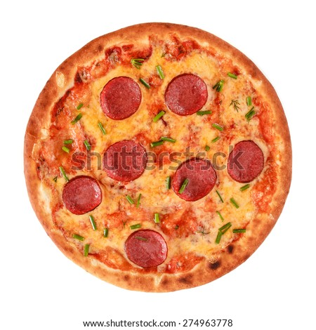 A Pepperoni Pizza with salami, sausage and greens isolated on white - stock photo