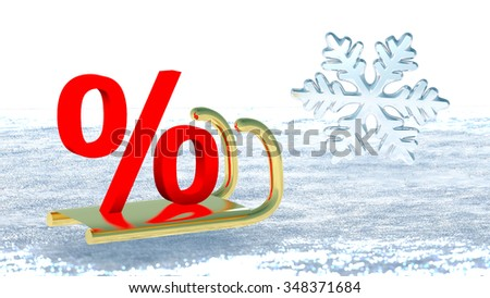 A percent symbol on Santa Claus sleigh that symbolizes winter promotions - stock photo