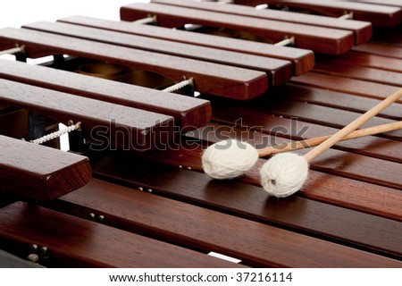 A percussion instrument the marimba with mallets - stock photo