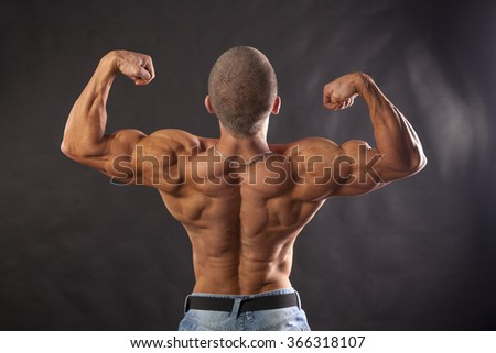 A perfect power full body, back a strong man, bodybuilder