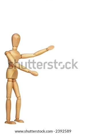 A person gesturing a hug or introduction - stock photo