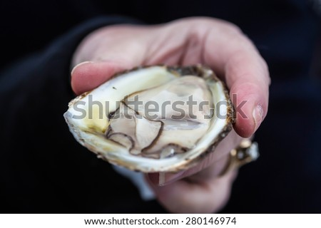 A person holding an opened raw oyster. - stock photo