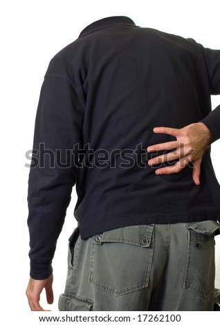 A person holding their lower back in pain
