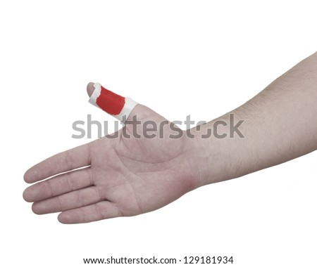 A person medically dressed with a cotton ball and bandage over a wound. Pain concept photo with Color Enhanced - stock photo