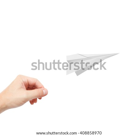A person playing with paperplanes - stock photo