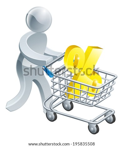 A person pushing a shopping cart or trolley with a large percent sign in it