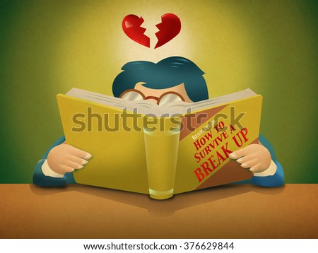 A person reads a book about How to Survive a Break Up - stock photo