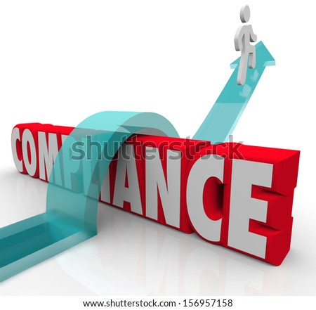 A person riding an arrow over the word Compliance to achieve success by following rules and regulations - stock photo